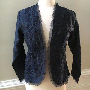 Chico's Size 0 100% Silk Embroidered Jacket